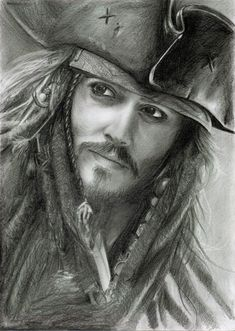 Captain Jack Sparrow.  Pencil drawing...beautiful.