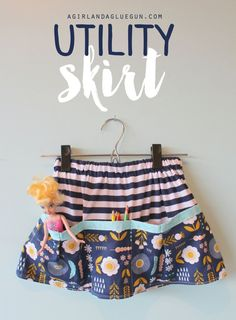 utility skirt diy--a  fun skirt to hold all your treasures #sewing #girlskirt