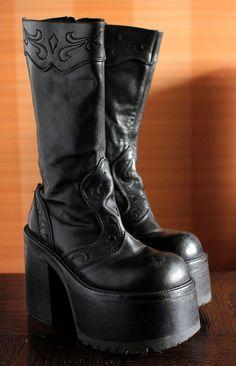 c3148eba920d BUFFALO super high platform boots 90 s Club by VintagePlatformDeal Goth  Platform Boots