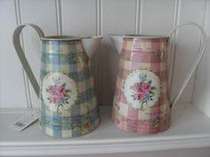 gingham kitchen cups | ... VINTAGE STYLE ROSE FLORAL METAL CHIC JUG PITCHER PINK OR BLUE GINGHAM