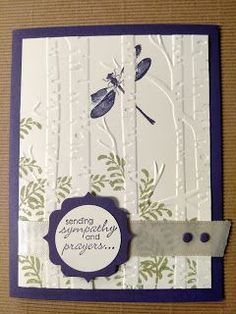 "By Cindy Fodor. ""Woodland"" embossing folder. Stamps from ""Awesomely Artistic."" Both by Stampin' Up. Stamp on the inside front of the folder; insert white cardstock; then dry emboss."