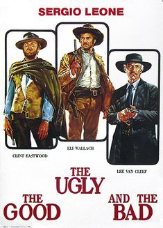 Italian movie poster for The Good, the Bad and the Ugly starring Clint Eastwood, Eli Wallach and Lee Van Cleef from 12 x 24 inches. Lee Van Cleef, Clint Eastwood, Western Film, Western Movies, Classic Movie Posters, Classic Films, Old Movies, Great Movies, Film Movie