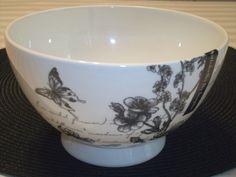 PORTOBELLO INSPIRE BOWL Black White Script Butterfly Flowers BONE CHINA NEW #PortobellobyInspire