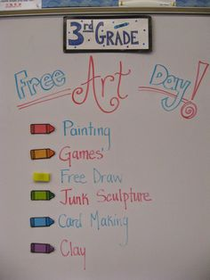 Students look so forward to their well earned Free Art Day! Once classes have gone all the way around on the behavior board, they reach the ...