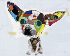 Dog Collages by Michel Keck - another pinner said glue scrap papers/magazine bits onto a piece of paper, trace image, and cut. Add cut out eyes/nose/mouth/etc. Maybe just cut out a picture of the body and draw a huge head for it then cut it out of the collage paper? Will have to experiment.