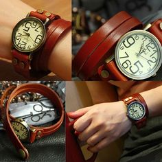 New Vintage Style Leather Band Women's Bracelet Watch