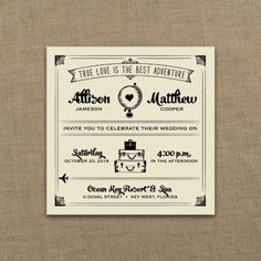 Occasions to Blog: Travel Theme Wedding Invitations (Invitation Link - http://occasionsinprint.carlsoncraft.com/3214-MM1334231041-Amorous-Adventure--Imperial-Invitation--Ecru-Textured.pro)