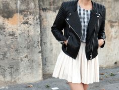 H & M leather biker moto jacket + pleated skirt, plus other great H & M looks to copycat!