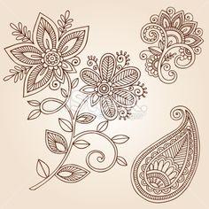 lace tattoos | Henna Mehndi Tattoo Paisley Doodles Vector Elements Royalty Free Stock ...