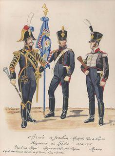 l'Armée de Joachim Murat, Roi de Naples Régiment du Génie 1814-15 Tambour Major Adjudant porte drapeau Musicien