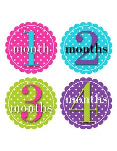 Baby Month Stickers Baby Monthly Stickers Girl by PurplePossom