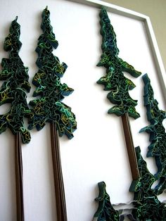 Quilled Trees by all things paper, via Flickr