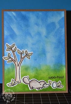 baby shower card using lawn fawn critters down under