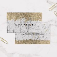 Abstract Gold Crackle Trendy White Marble Business Card