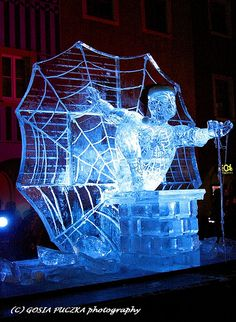 iced spiderman. Old Market, ice sculpture international festival 2009, Poznań, Poland