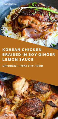 Easy Korean fusion recipe for Chicken. Marinated in soy ginger sauce seared golden brown braised in oven with onions and lemon. Easy Korean fusion recipe for Chicken. Marinated in soy ginger sauce seared golden brown braised in oven with onions and lemon. Healthy Chicken Recipes, Asian Recipes, Cooking Recipes, Healthy Tips, Healthy Eating, Lemon Sauce, Ginger Sauce, Korean Chicken, Fusion Food