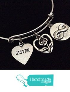 b59c0af60 Sister Best Friends with Butterfly, Heart and Rose Expandable Silver Charm  Bracelet Adjustable Bangle Trendy Gift