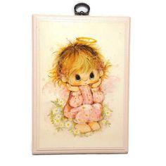 Vintage Little Angel Wood Wall Plaque- Vintage Hallmark- Pink Baby Girl Angel- Vintage Nursery Art- Wall Plaque 8x6- Big Eye Angel Girl by PinkFlyingPenguin