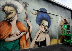 Women Rock Wynwood Walls at Miami Art Basel 2013 - Brooklyn Street Art Street Art Love, Best Street Art, Graffiti Art, Urbane Kunst, American Graffiti, Street Artists, Tag Art, Medium Art, Urban Art