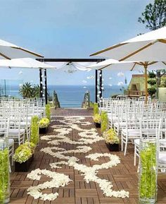 2014 white petals aisles decor for beach wedding venue, white beach wedding venue www.dreamyweddingideas.com