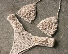 Lussuosi bikini all'uncinetto in crema, bikini brasiliano, bikini sfacciato, regalo per lei, set bikini all'uncinetto, Crochet top bikini, bikini Increspature