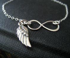 Infinity bracelet with Angel wing charm, sterling silver dainty bracelet, Angel wing bracelet, protection, friendship. $32.50, via Etsy.
