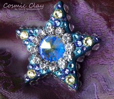 """Good Luck, Pluto"";  Cosmic Clay by Spirit Spellweaver --Clay & Swarovski Crystal Star Pendant. Sold."