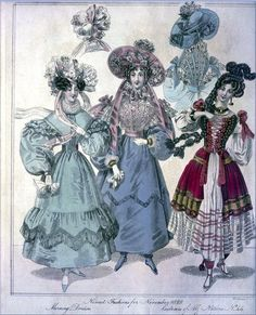 The World of Fashion and Continental Feuilletons 1829 - Plate 41: Morning Dresses