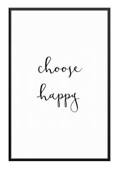 Minimalist Print Choose Happy Printable Large Poster door Creocrux