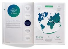 World map in layout International Annual Report, Addison Coperate Design, Tool Design, Cover Design, Layout Design, Design Ideas, Brochure Inspiration, Graphic Design Inspiration, Brochure Layout, Brochure Design