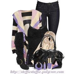 To complete: purple striped cardigan <3