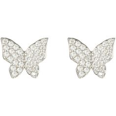 Closed butterfly earring ($139) ❤ liked on Polyvore featuring jewelry, earrings, white jewelry, butterfly earrings, butterfly jewelry, earring jewelry and monarch butterfly earrings