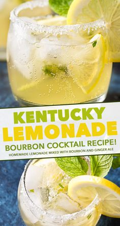 Sweet, tart, and refreshing with a bourbon kick, this Kentucky Lemonade cocktail is everything you could want in a drink. Sip your way into warmer weather with this easy to make cocktail. perfect for a party! Bourbon Cocktails, Bourbon Mixed Drinks, Burbon Drinks, Sweet Cocktails, Sweet Mixed Drinks, Ginger Cocktails, Whiskey Drinks, Scotch Whiskey, Cocktail Recipes