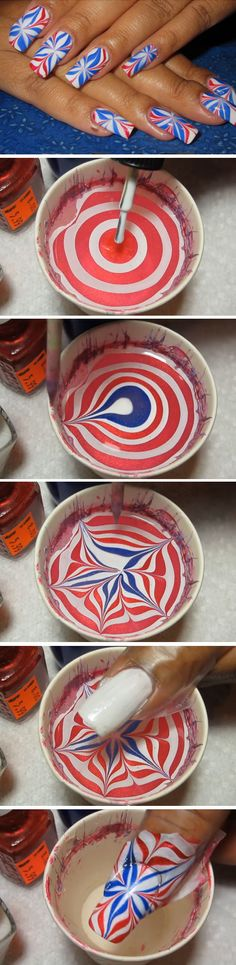 Patriotic Water Marble Art | Click Pic for 17 Easy DIY 4th of July Nail Art Designs for Short Nails | Awesome Nail Art Ideas for Summer Design Fun