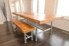 """This amazing dining table and bench is made with 3' thick reclaimed wood and 1-1/4"""" galvanized pipe frame. This particular table measures 8 feet long and is 42"""" wide. Bench is usually 12"""" to 15"""" wide and can sit 3 adults comfortably. Price may vary based on dimension of table."""