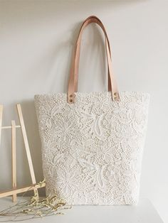 Handmade Shabby Chic Cotton Wedding Bag, Lace Bag, Lace Tote, Vintage Style, Ivory/Off White, Genuine Leather Straps, Make to Order, L077