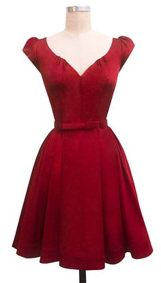 red dress with full skirt and wide neckline