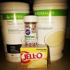 Birthday Cake Shake w/ 24g protein 2 scoops herbalife cookies and cream formula 1 2 scoops herbalife pdm 1 tsp cheesecake jello mix  A pinch of sprinkles  8 Oz of water and ice to preferred thickness Blend and enjoy