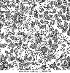 Immagine vettoriale stock 261248396 a tema Floral Vintage Seamless Pattern Retro Wallpapers (royalty free) Coloring Books, Coloring Pages, Adult Coloring, Retro, Floral Vintage, Art Projects For Adults, Light Pink Flowers, Hand Drawn Flowers, Bullet Journal Art
