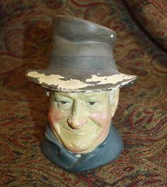 Antique Figural Ceramic DEP Tobacco Jar Humidor English Top Hat