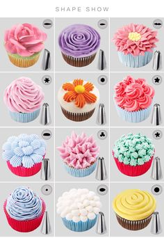 cupcake frosting tips Making your own gorgeous and exclusive cakes and cupcakes, or any confectionery is much easier with the right tools! Create a wide variety of flowers . Cupcake Decorating Tips, Cake Decorating Piping, Birthday Cake Decorating, Cookie Decorating, Cake Decorating For Beginners, Cake Birthday, Decorating Ideas, Icing Tips, Frosting Tips