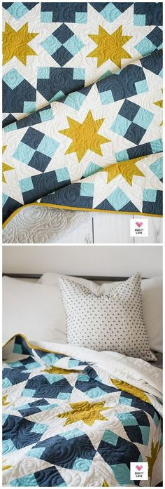 modern quilting designs Night Stars quilt pattern by Emily of . This bold and modern star quilt is a block based quilt full of fun quilting techniques. Star Quilt Patterns, Modern Quilt Patterns, Star Quilts, Quilt Blocks, Modern Baby Quilts, Owl Quilts, Star Blocks, Quilt Baby, Quilt Bedding