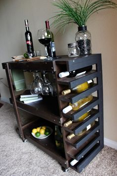 Holiday Sale Handcrafted Wooden Bar Cart by CalderonConstruction
