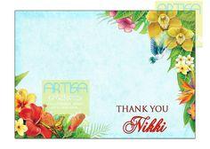 Havaiano cartão de agradecimento - Partido havaiano Luau Obrigado card - cartão de nota havaiano - cartão de nota Luau - Obrigado cartão - Hawaiian DIY Partido