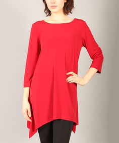 This Red Sidetail Tunic by Lbisse is perfect! #zulilyfinds