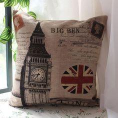 45x45cm Union Jack London Big Ben UK Linen Pillow Case Cushion Cover Elizabeth Tower