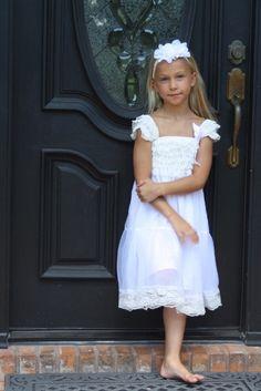 White Chiffon Girls Dress Flower Girl Dresses Cream by jamiepowell