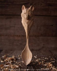 """gilesnewman: """"Wolf spoon. Carved in Silver Birch. 27cm (10.5in). Private commission. . I love carving wolves so although I don't normally take on commissions, I couldn't resist this one. . . #woodart..."""