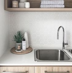Who knew doing laundry could be so beautiful. We are crushing on this laundry by… Who knew doing laundry could be so beautiful. We are crushing on this laundry by featuring our laundry stainless sink and… Laundry Tubs, Laundry In Bathroom, Basement Bathroom, Laundry Cupboard, Laundry Storage, Small Laundry, Laundry Rooms, Bathroom Ideas, Laundry Decor