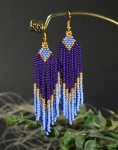 Seed bead Violet Gold Beaded earrings – The World Beaded Earrings Patterns, Seed Bead Patterns, Beading Patterns, Embroidery Patterns, Seed Bead Bracelets, Seed Bead Earrings, Etsy Earrings, Hoop Earrings, Seed Beads
